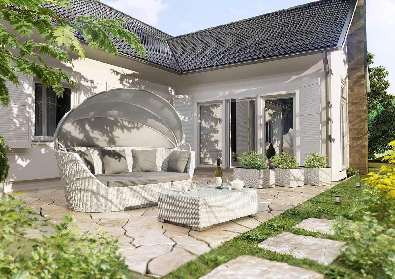 Łóżko ogrodowe z baldachimem