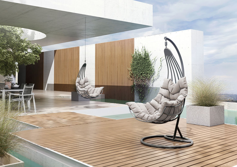 Ogrody nowoczesne - Wiszący fotel ogrodowy z aluminium MALAGA STONE&WOOD
